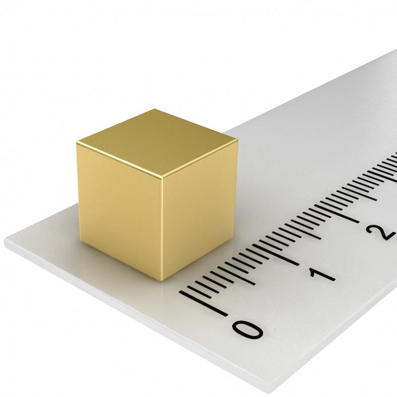 10er Pack Hochleistungs-Würfelmagnete-gold 10x10x10mm