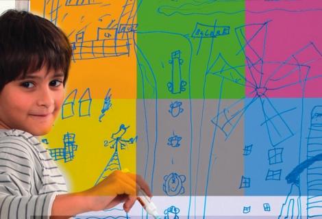 Selbstklebende magnetische Whiteboardfolie_100x75cm Hellgrau